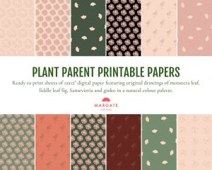 Plant parent printable paper. Print this digital paper on your home printer or take to a print shop. 12 different designs of a ginko, monstera, fiddle leaf fig and sansevieria.