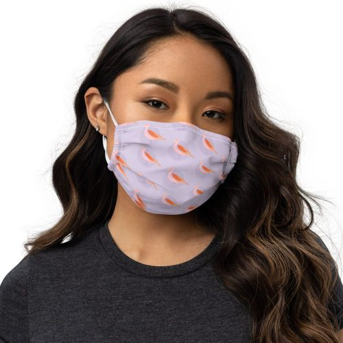 Mauve bird print face mask that's washable and fully adjustable
