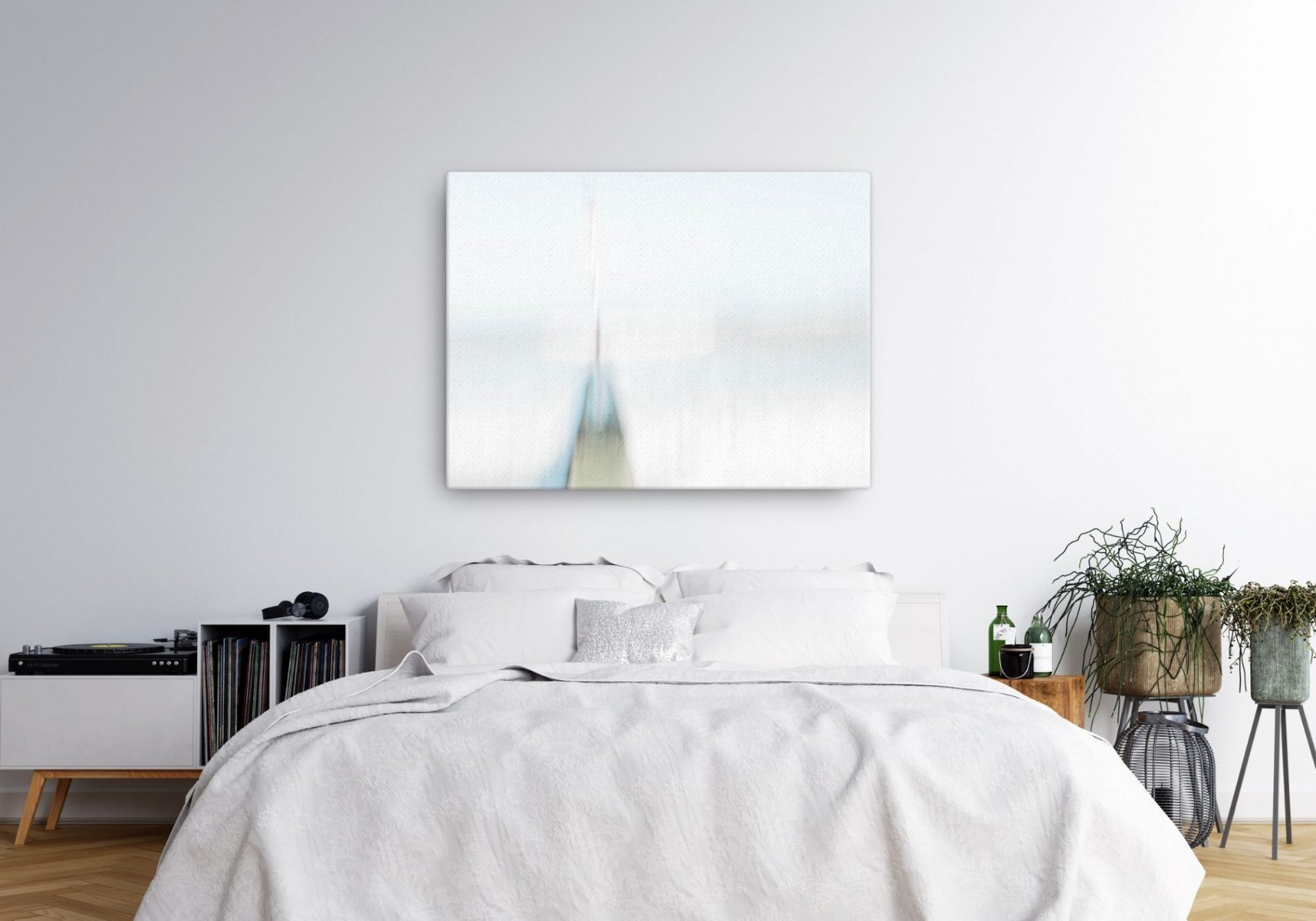 White abstract canvas above bed in bedroom. Looks toward the horizon and perfect for meditation. Forward motion by Rebecca Portsmouth.