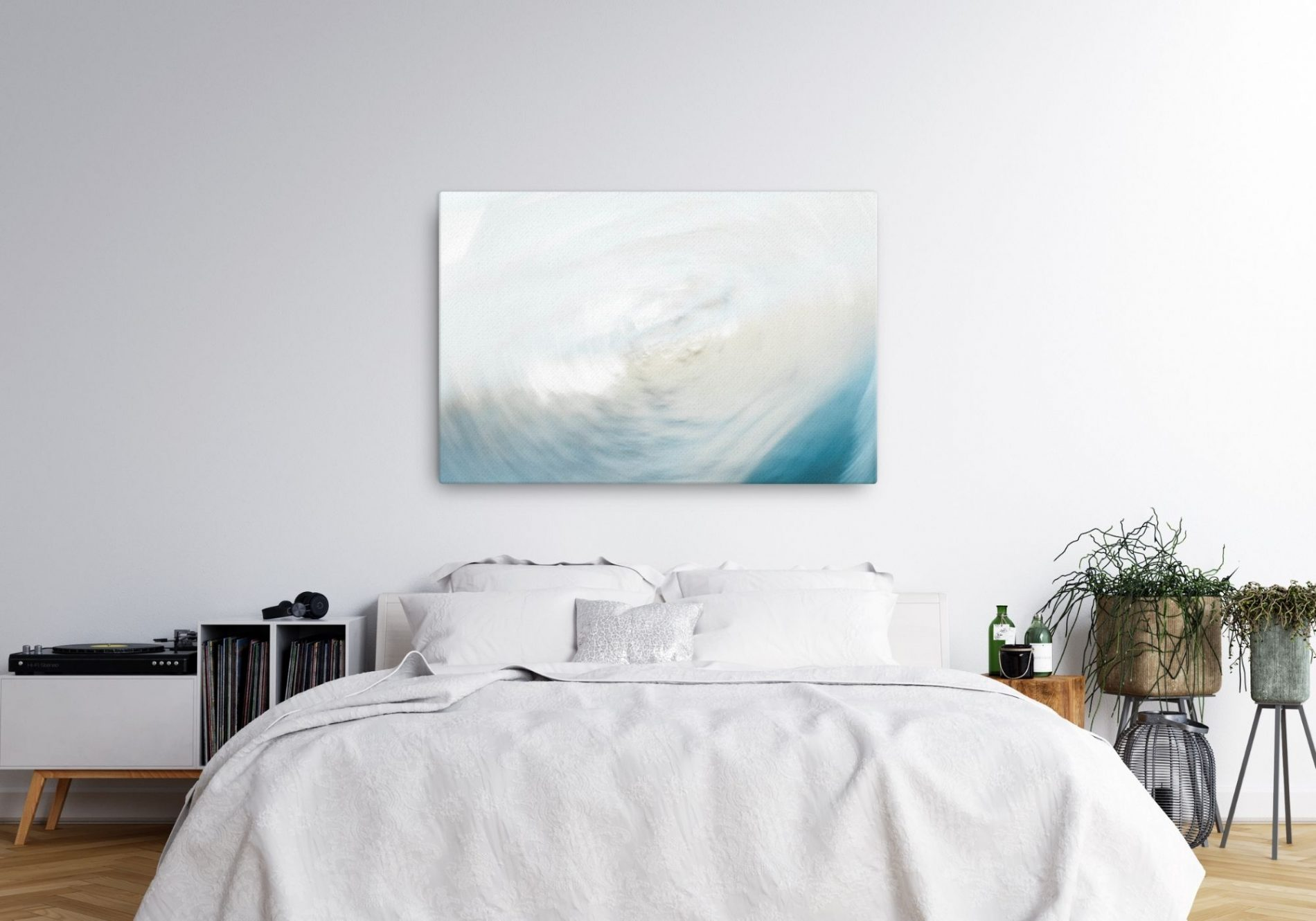 White and blue abstract canvas above bed in bedroom. Tidal Turn by photographer Rebecca Portsmouth (Margate Editions)