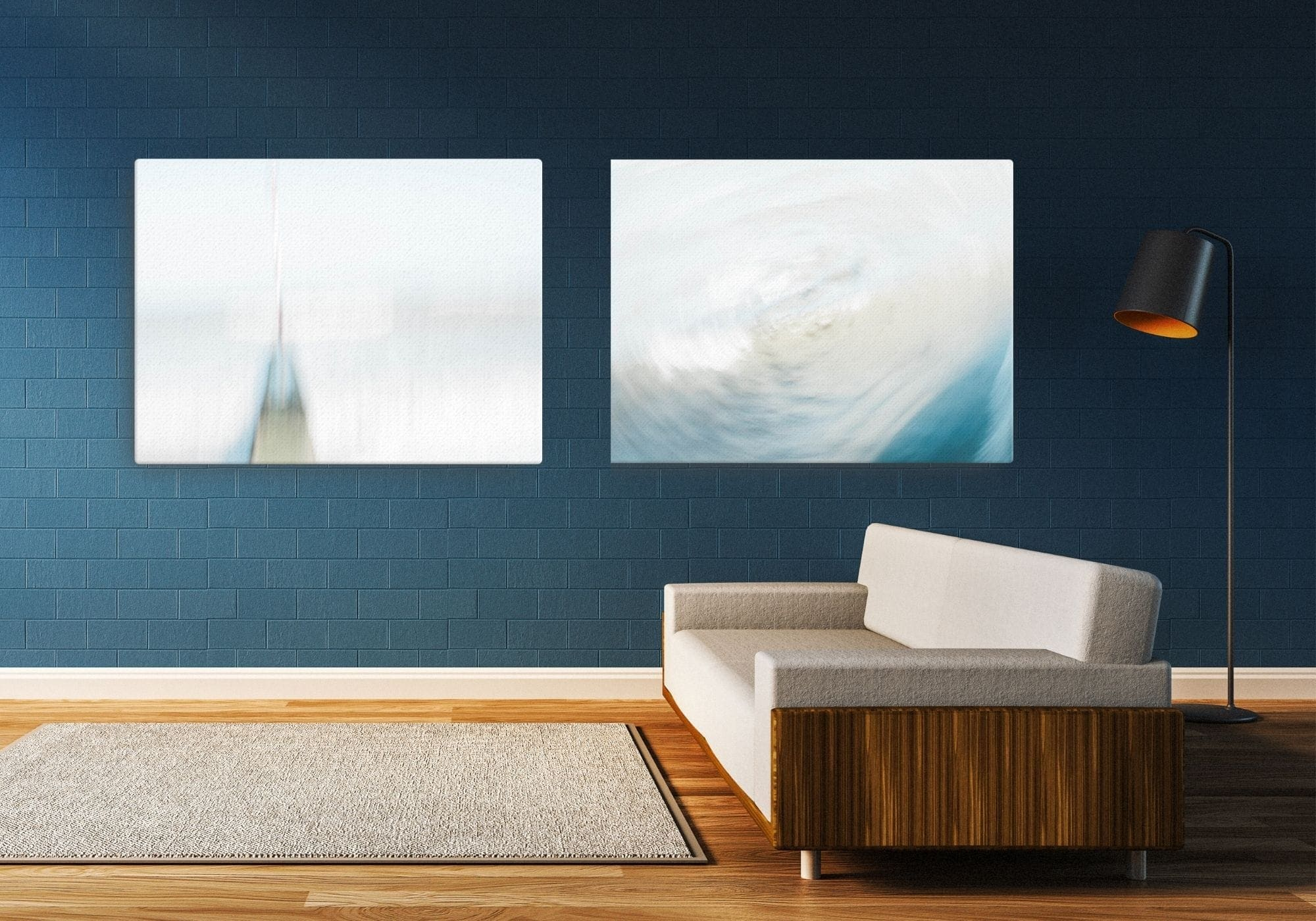 Two mostly white abstract, painterly canvases for your wall. Shown as a pair on a dark blue wall.