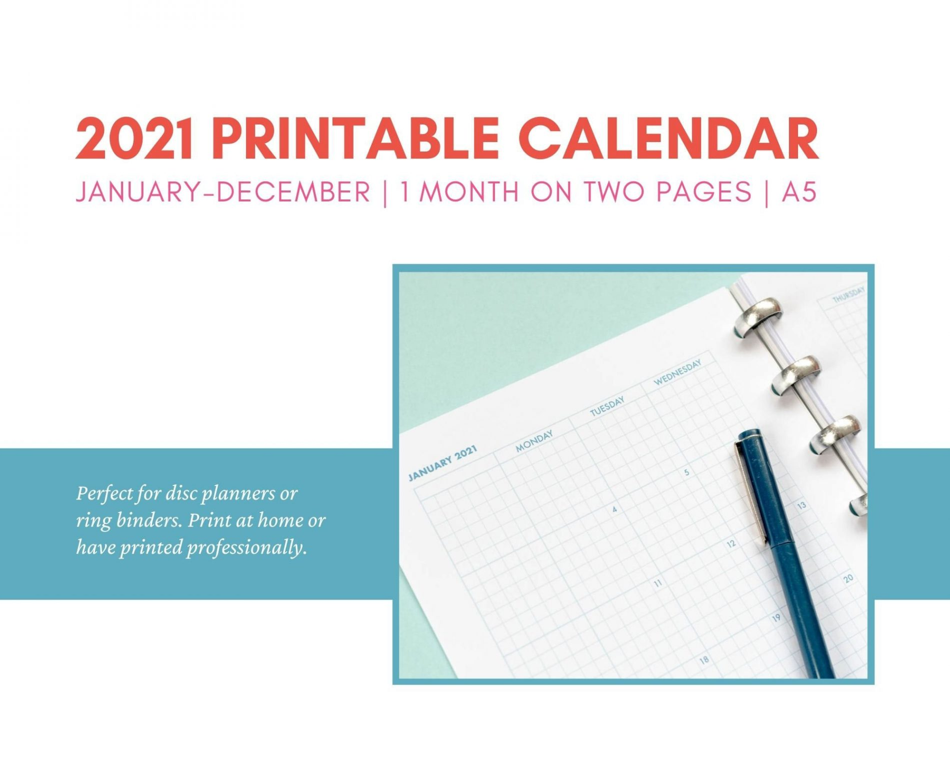 Printable 2021 monthly calendar in grid style. Instant download.