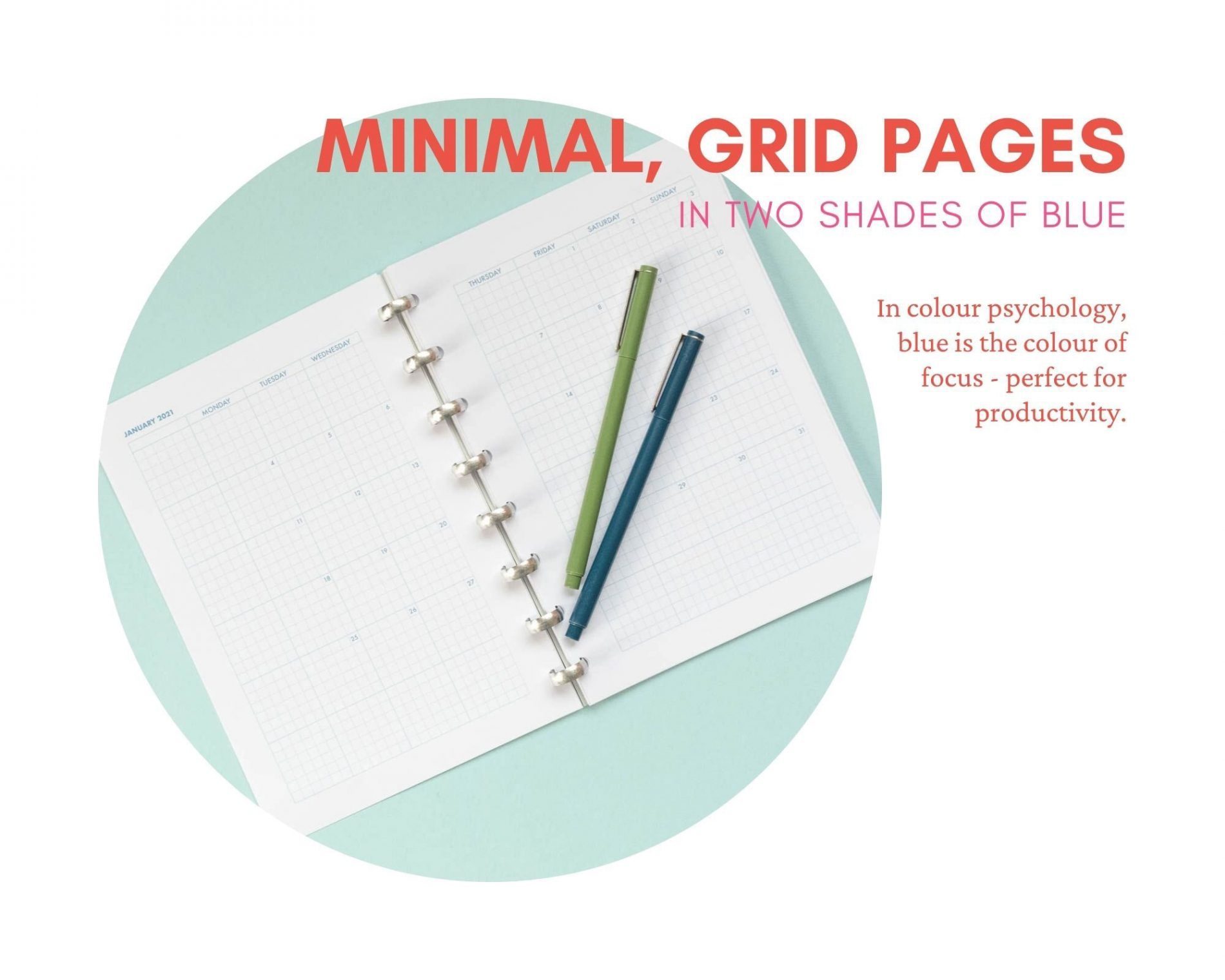 Minimal grid printable 2021 planner in A5 size. Hobonichi style printable planner to help you work at home.