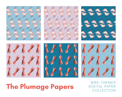 The Plumage Papers bird themed digital paper collection by Margate Editions, Kent.