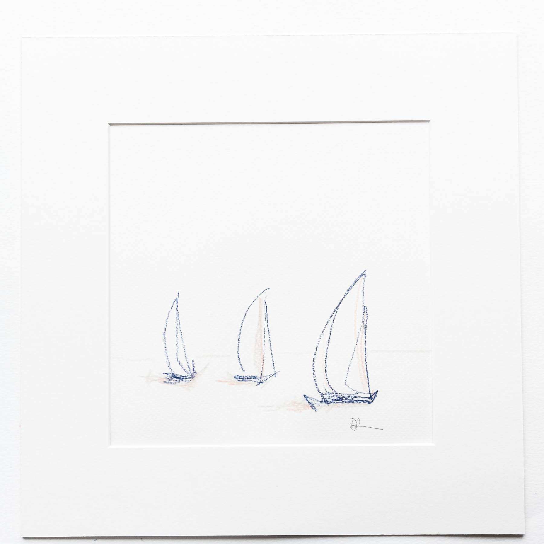 Limited palette coloured pencil drawing of three yachts. By Rebecca Portsmouth of Margate Editions. Inspired by a Margate Yacht Club Bank Holiday weekend race.