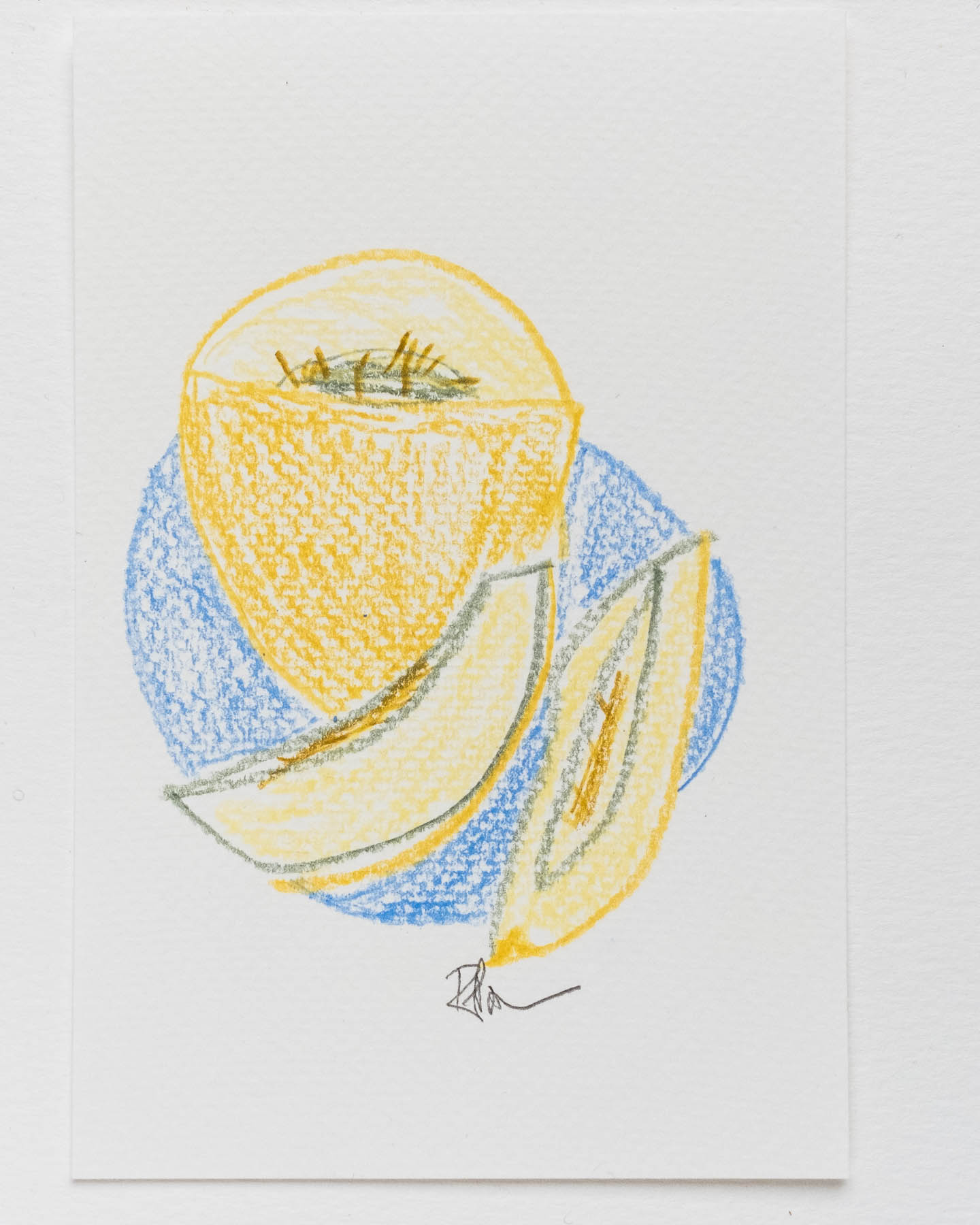 Pencil sketch of slices of melon on a blue plate. Postcard size.