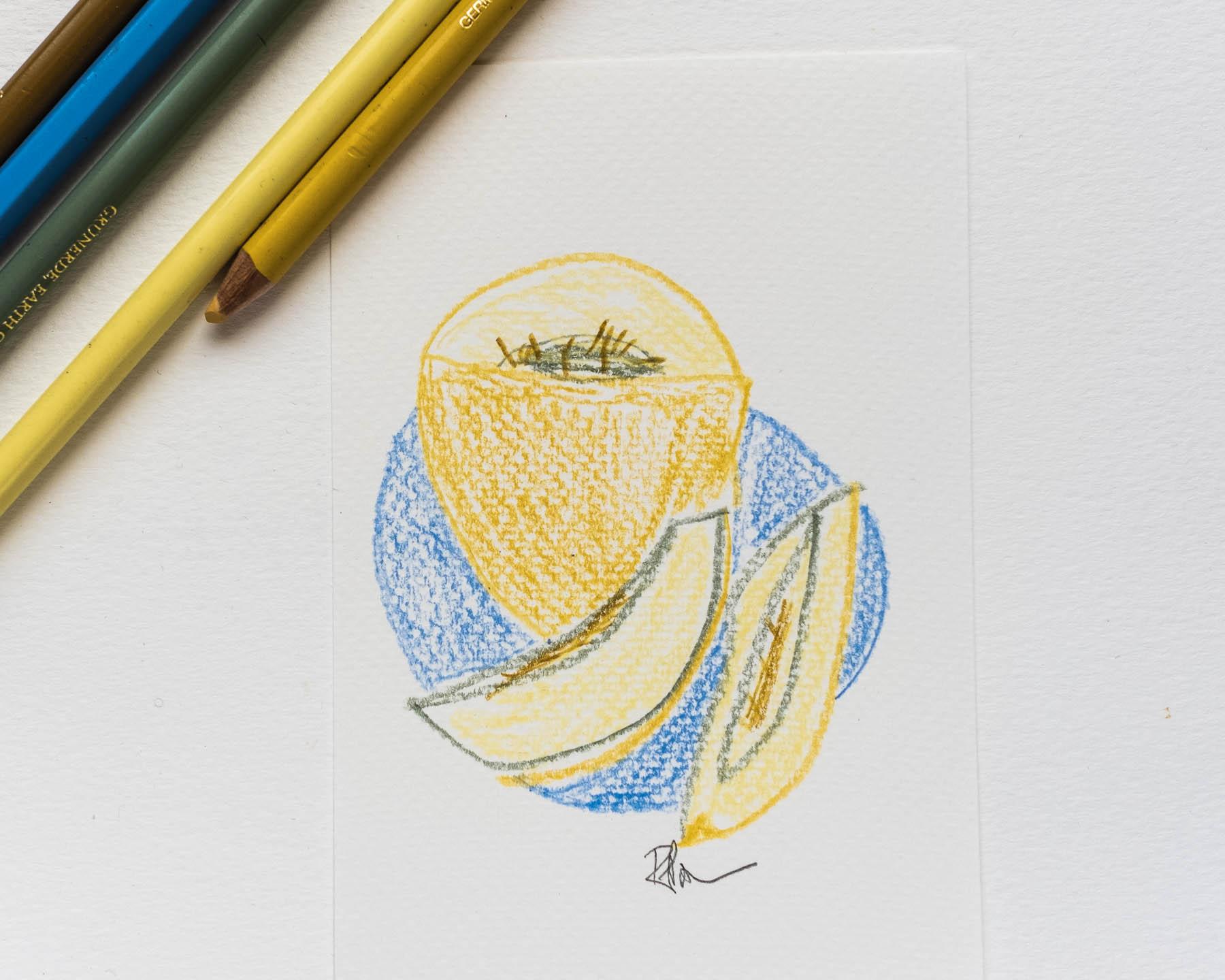 Pencil sketch of melon slices and pencils.